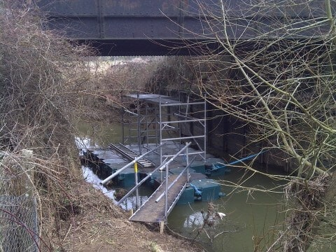 Airfloat Modular Pontoon System in use - Bridge repairs, Effingham